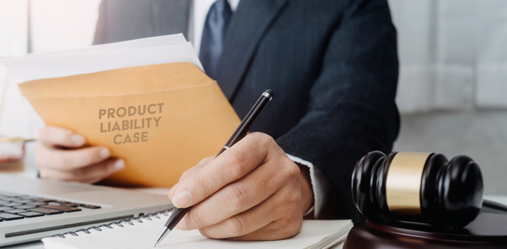 Lawyer handling a product liability case.